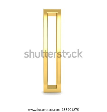 3d golden frame letter I i rendering with gold metal empty line alphabet  - stock photo