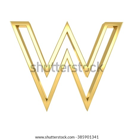 3d golden frame letter w rendering with gold metal empty line alphabet  - stock photo