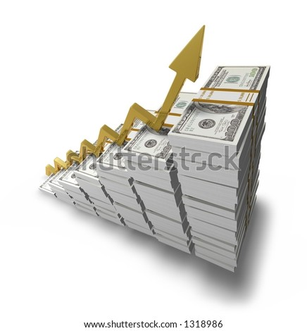 3D golden graph and stocks of dollars - stock photo