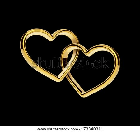 3d golden hearts connected together, engagement linked rings clip-art isolated on black - stock photo