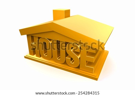 3d golden house on white background, real estate. - stock photo