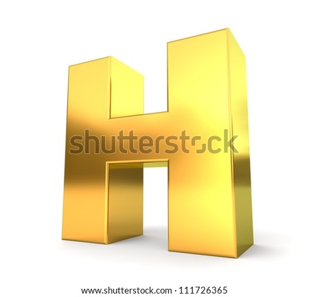 3d golden letter collection - H - stock photo