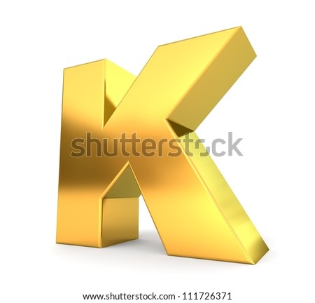 3d golden letter collection - K - stock photo