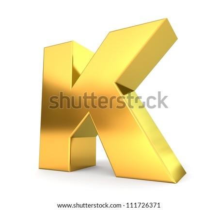 3d golden letter collection - K - stock photo