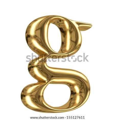 3d golden letter collection - lowercase g - stock photo