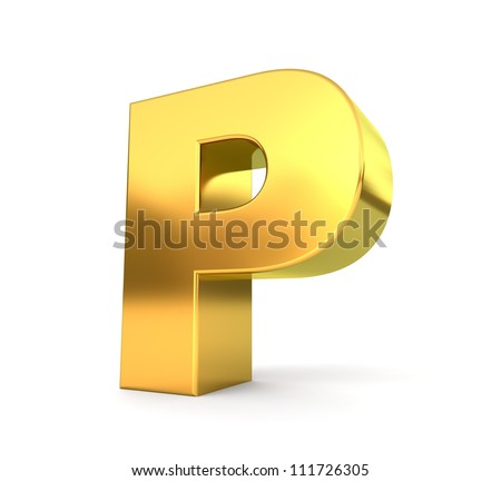3d golden letter collection - P - stock photo