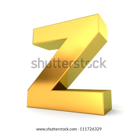 3d golden letter collection - Z - stock photo