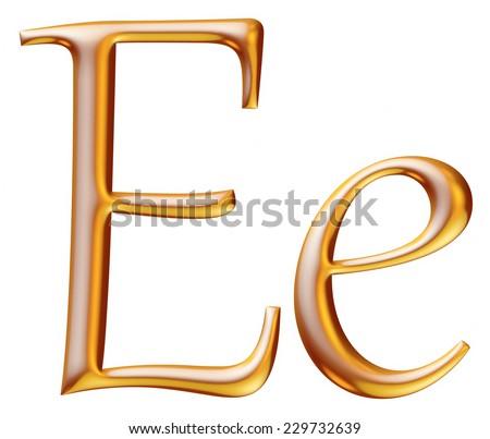 3d golden letter E isolated white background  - stock photo