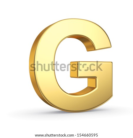 3D golden letter isolated with clipping path on white - stock photo