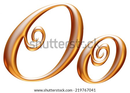 3d golden letter O isolated white background  - stock photo