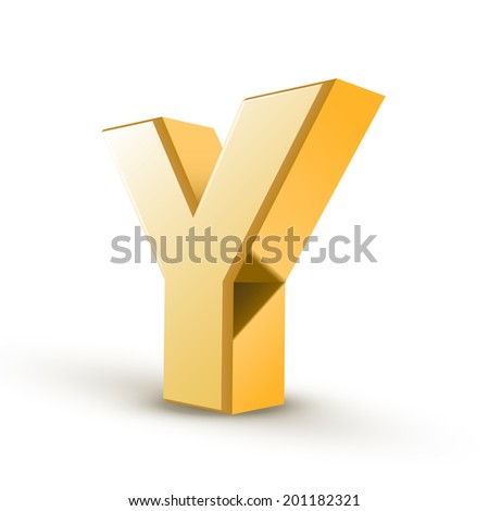 3d golden letter Y isolated white background - stock photo