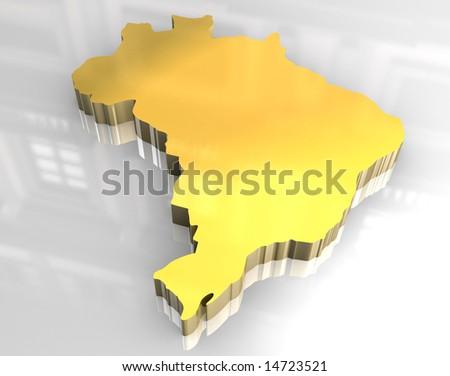 3d golden map of brazil - stock photo