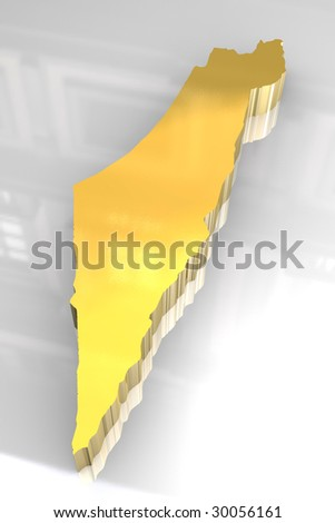 3d golden map of Israel - stock photo