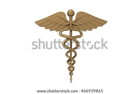 3d golden medical logo on a white background