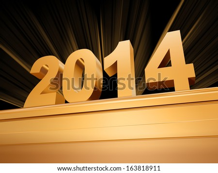 3d golden new year 2014 with rays over base - stock photo