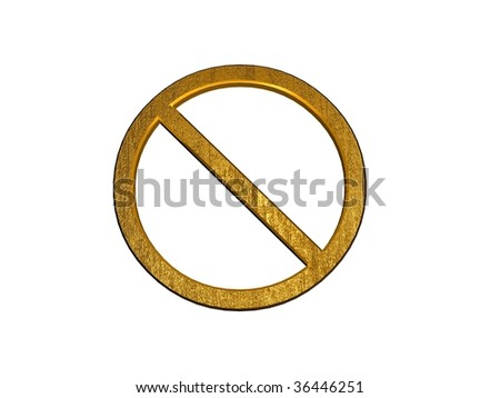 3d golden no admittance sign isolated on white - stock photo