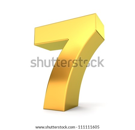 3d golden number collection - 7 - stock photo