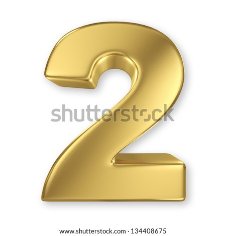 3d golden number collection - 2 - stock photo