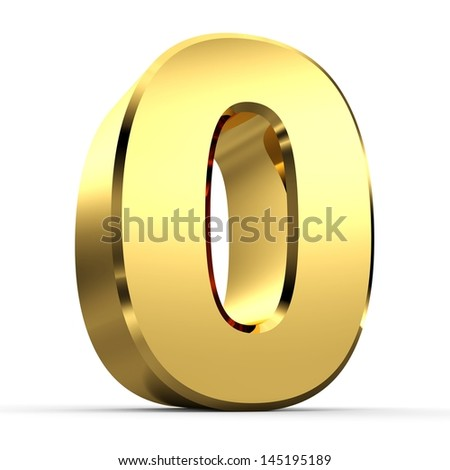 3D Golden Number Collection 0 - stock photo