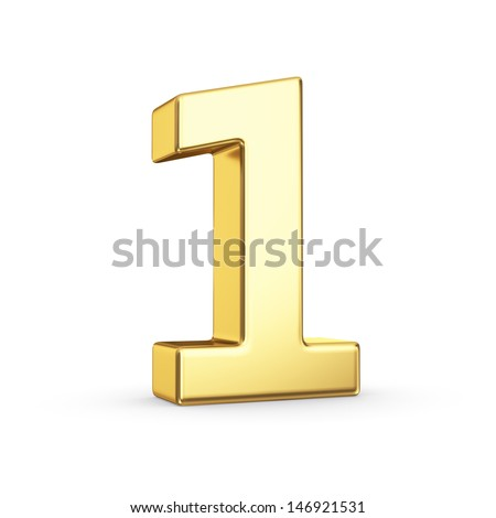3D golden number 1 - isolated with clipping path - stock photo