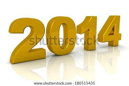 3d golden 2014 on white background - stock photo