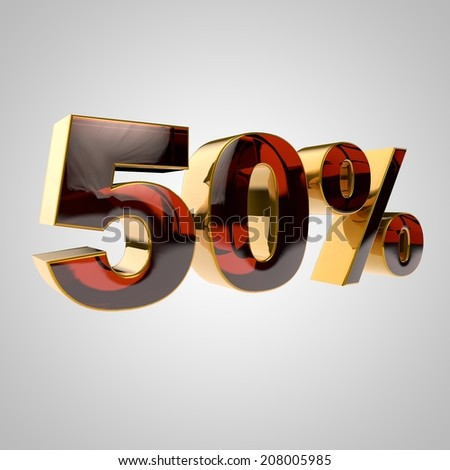 3d golden percent - 50 - stock photo