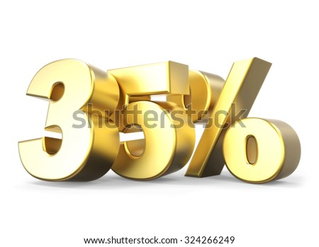 3D golden percentage discount collection - version 35 % off - stock photo