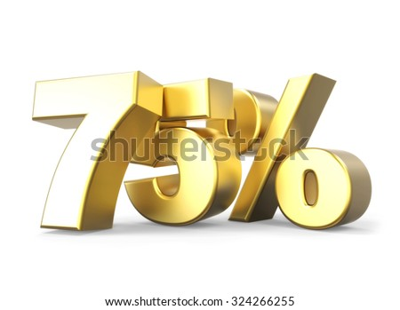 3D golden percentage discount collection - version 75 % off - stock photo