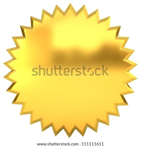 3d golden seal isolated on white background - stock photo
