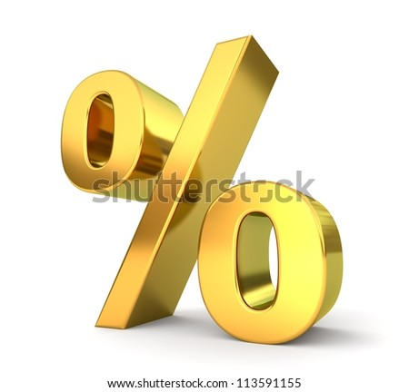 3d golden sign collection - percent - stock photo