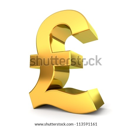 3d golden sign collection - pound - stock photo