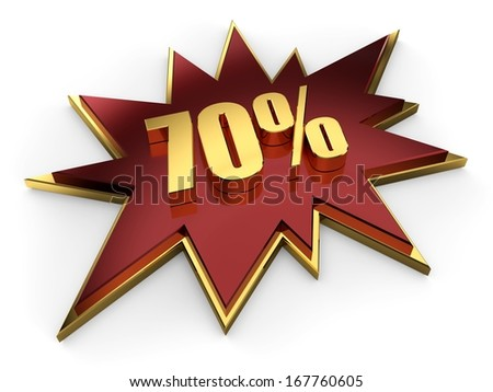 3d golden sign of seventy percent on claret red comic explosion - stock photo