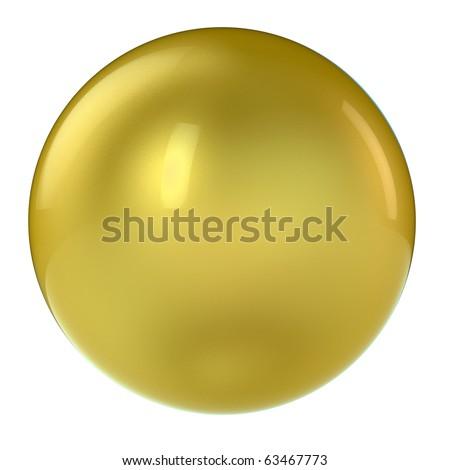 3d golden sphere in studio environment isolated on white - stock photo