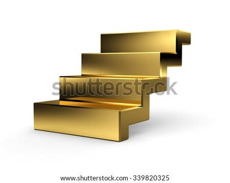 3d golden stairs. Isolated on white background.