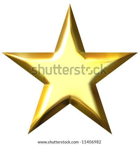 3d golden star - stock photo