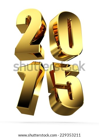 3D Golden 2015 Text. 3D Happy New Year Golden 2015 - stock photo