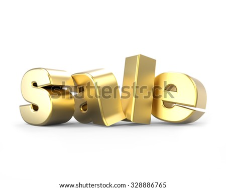 3d golden text sale isolated on white background - stock photo