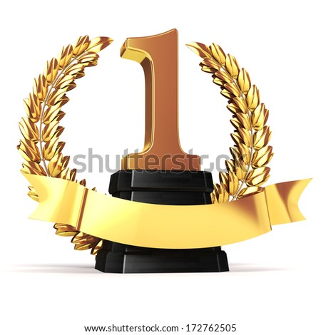 3d golden trophy and laurel  - stock photo