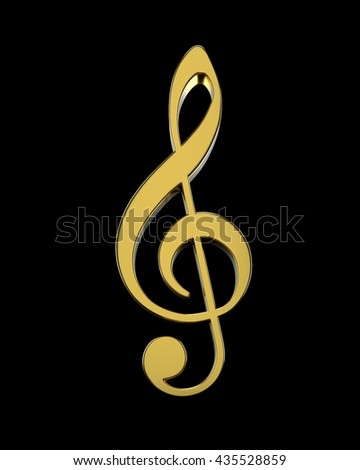 3D golden violin clef on a dark  background