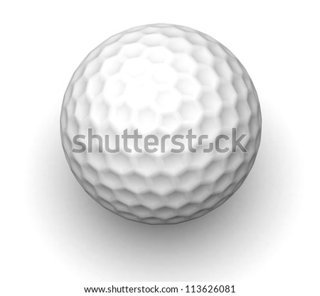 3d Golf ball isolated on white with clipping path - stock photo