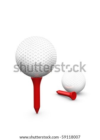 3d golf ball isolated over white background - stock photo