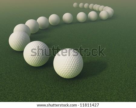 3d Golf ball line over a grass field with some myst in the background - stock photo