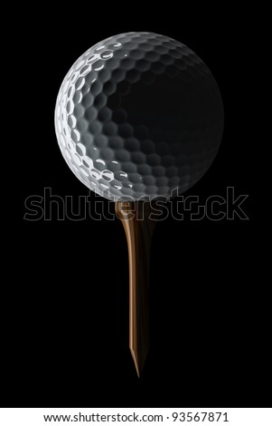 3d Golf ball on tee on black background - stock photo