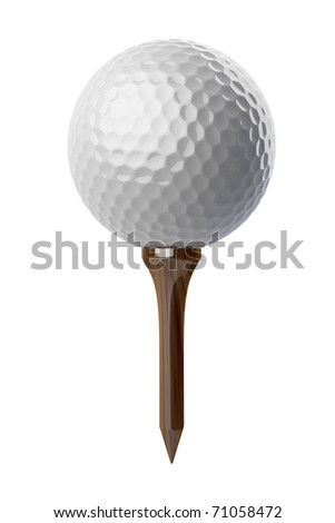 3d Golf ball on tee on white background - stock photo