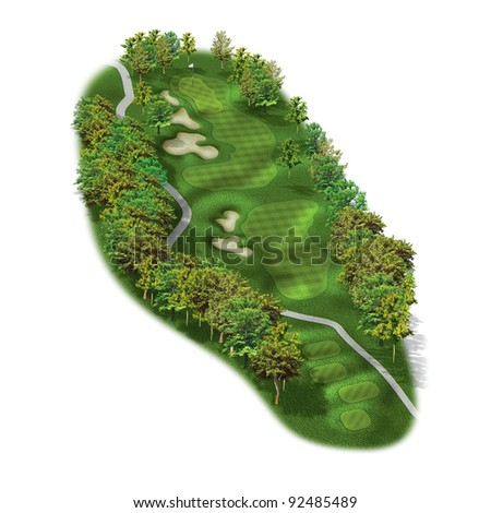 3D golf course hole layout/Golf illustration