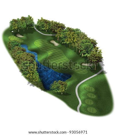 3D Golf Course Hole Layout/Three dimensional golf illustration - stock photo