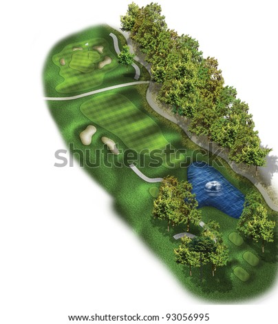 3D Golf Course Hole Layout/Three dimensional golf illustration with bunkers and mulch - stock photo