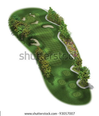3D Golf Course Hole Layout/Three dimensional golf illustration with flowers - stock photo
