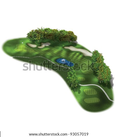 3D Golf Course Hole Layout/Three dimensional golf illustration with sand bunkers and water hazards - stock photo