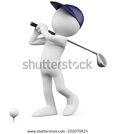 3D Golfer - Teeing off golf ball. Rendered at high resolution on a white background with diffuse shadows. - stock photo
